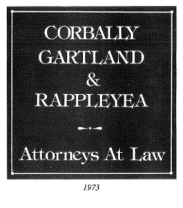 History 1973 Sign for Corbally, Gartland and Rappleyea - Attorneys at Law
