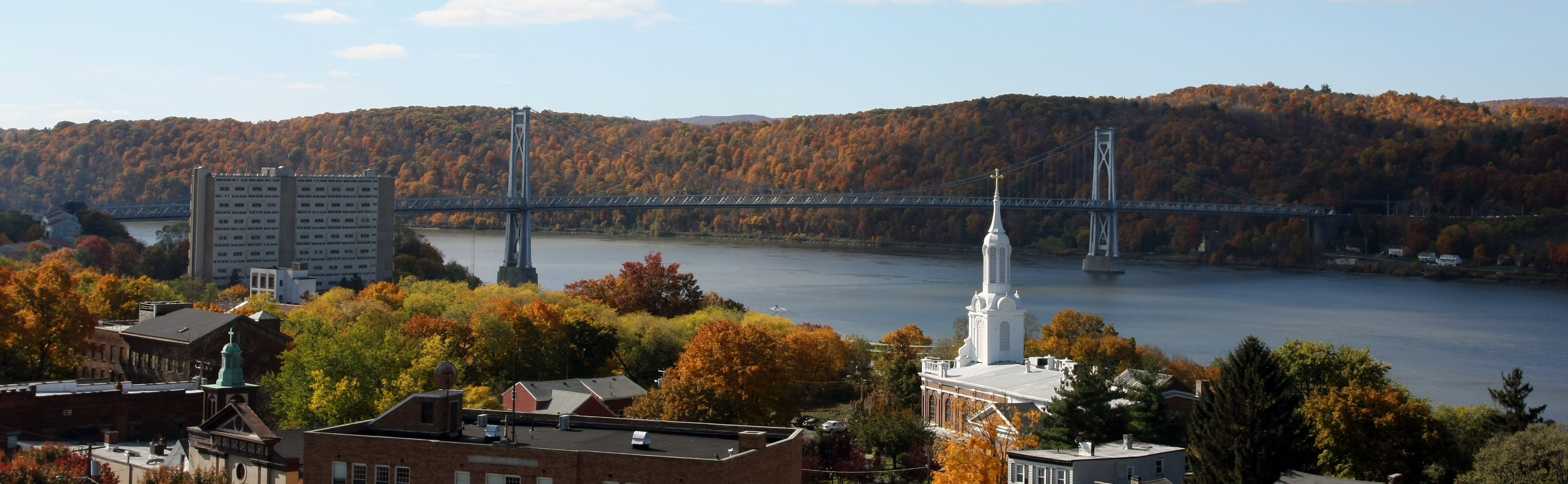 A Fall view of Poughkeepsie with the Mid Hudson Bridge in the background.